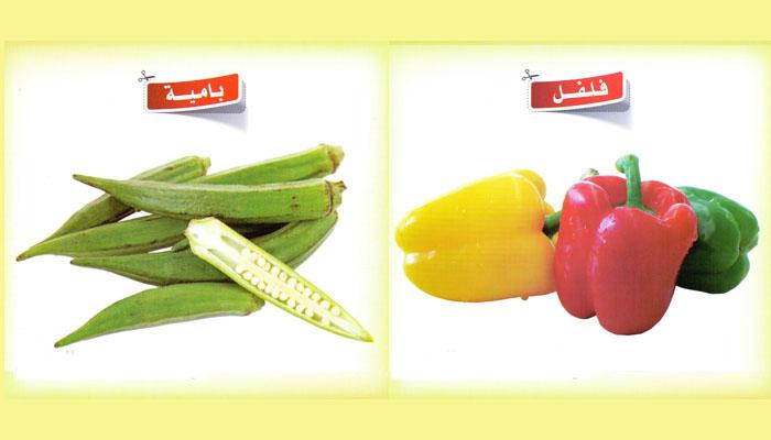 كروت تعليمية – لتعليم أسماء الخضروات بالصور للأطفال باللغة العربية