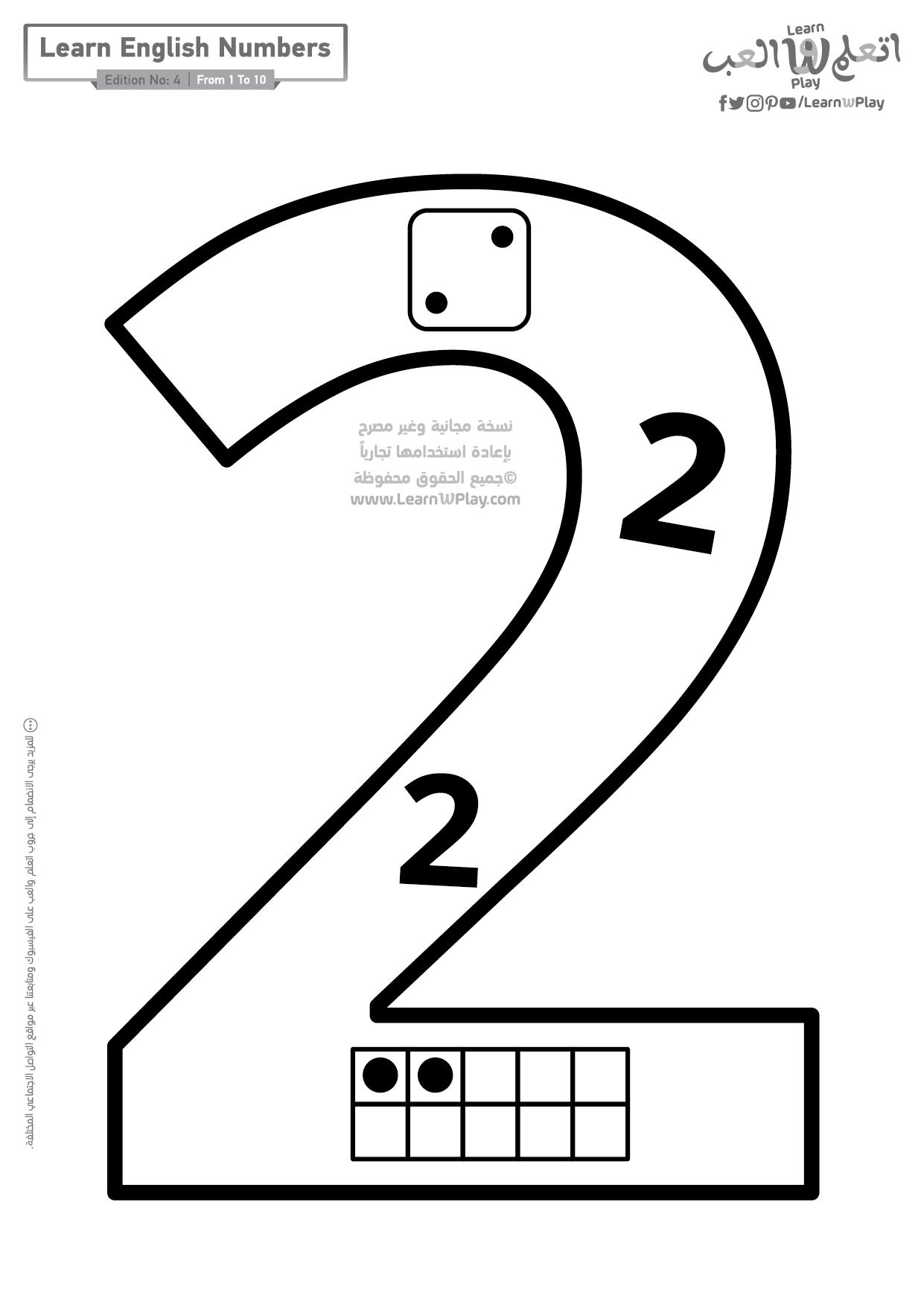 أوراق عمل جاهزة للطباعة لتعليم الأرقام الإنجليزية للأطفال